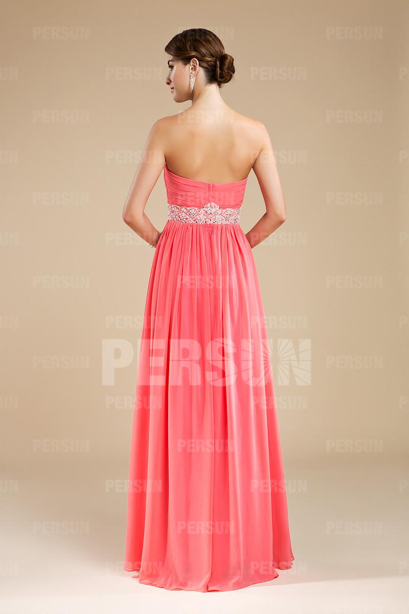 Robe rose bustier plissée longue pour demoiselle d'honneur