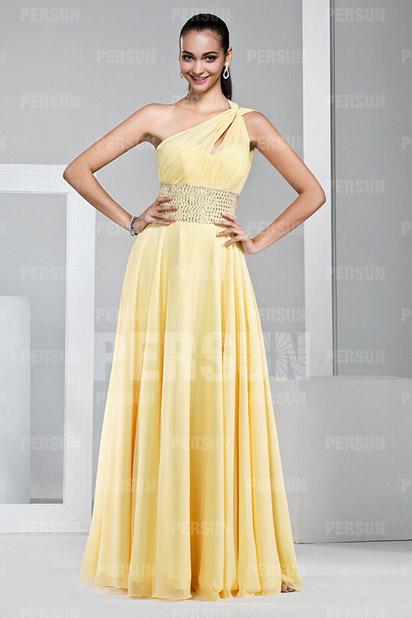 Dressesmall Modern One Shoulder Yellow Beading Floor Length Formal Dress