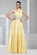 Modern One Shoulder Yellow Beading Floor Length Formal Dress