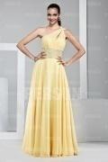 Sexy A-Linie Ein Schulter Bodenlanges gelbes Abendkleider