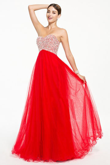 Dressesmall Chic Lace Up Red Beading Tulle Floor Length Formal Dress