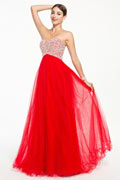 Chic Lace Up Red Beading Tulle Floor Length Formal Dress