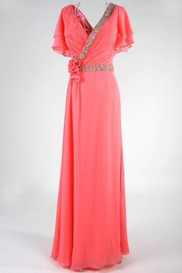 Dressesmall Modern V Neck Beading Ruffles Red Full Length Formal Dress