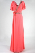 Modern V Neck Beading Ruffles Red Full Length Formal Dress