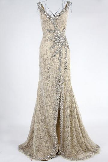 Dressesmall Gorgeous Side Slit Beading Lace Floor Length Formal Dress
