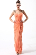 Robe orange fourreau avec bretelles ornées de bijoux
