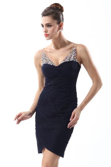 Sexy V-Ausschnitt Kurz Etui-Linie Abendkleider Persun