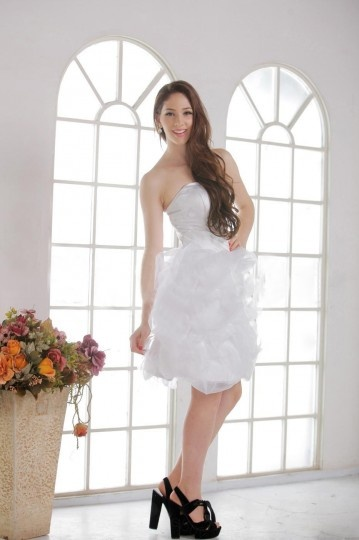 Short / Mini Strapless Ruched Wedding Dress