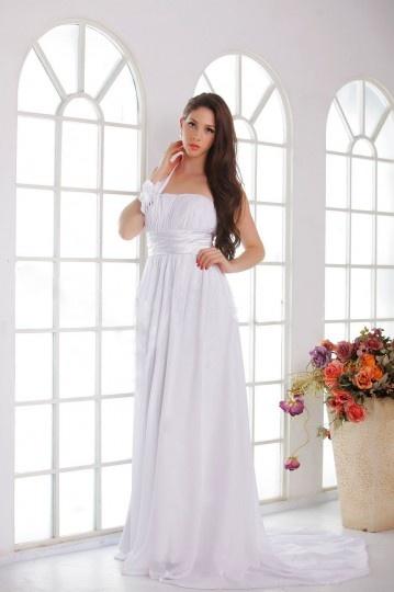 Vestido de noiva praia Império um ombro cauda capela com flor no peito