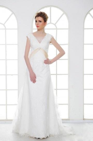 A Line V Neck Court Lace Wedding Dress