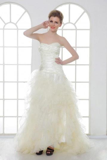 A Line Sweetheart Asymmetry Ruffles & Pleats Bridal Gown