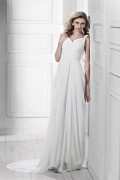 Empire V Neck Sleeveless Court Train Wedding Dress