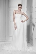 Empire Floor Length Strapless Court Lace Trimmed Wedding Gown