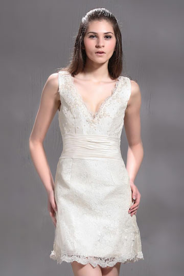 Sheath / Column Short / Mini V neck Lace Wedding Dress
