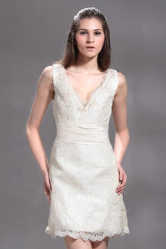 Sexy V Neck Sleeveless Buttons Lace Short Champagne Wedding Dress