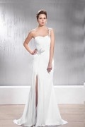 Faddish Sheath / Column Floor Length Split Front One shoulder Wedding Dress