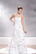 A line Strapless Tiered Floor Length Wedding Dress