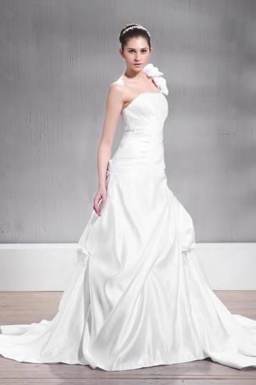 Vestido de noiva grande tamanho à linha A um ombro Sem alça sem manga Vestido longo