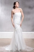 Trumpet Sweetheart Sleeveless Lace Church Wedding Gown