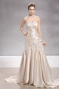 A line Sweetheart Floor length Ruffling Appliques Wedding Dress