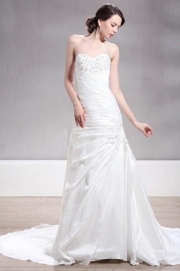 Brillante Vestido de Novia Hasta el Suelo con Escote Corazón Appliques Corte Sirena Talla Grande