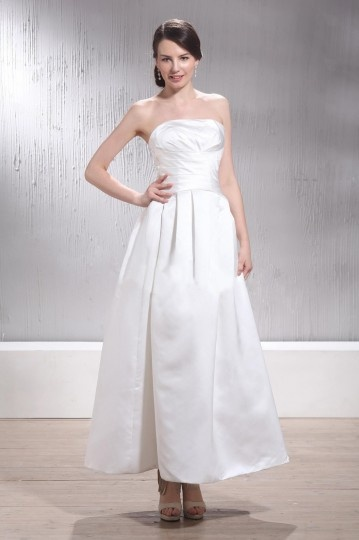 Simple Satin Strapless A Line Ankle Length Ivory Wedding Dress Persun
