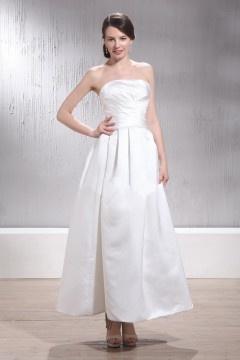 Robe de mariée simple sans bretelle longue à la cheville Empire plissée