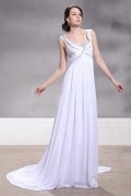 Empire Scoop Floor Length Pink Wedding Dress