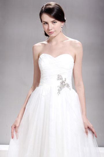 Vestido de noiva praia decote em coração linha A Vestido longo