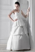 One Shoulder A Line Floor Length Tiered Wedding Gown