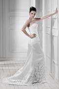 Sheath / Column Embroidery Satin Wedding Gown