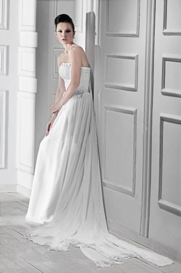... Linie A Linie Ärmellos Empire Perlen verziertes Hochzeitskleid aus