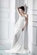 Flower Beading Strapless Wedding Dress A Line Chapel Train
