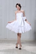 A Line Short / Mini Length Strapless Flowers Wedding Dress
