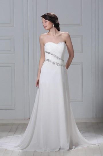 Sheath / Column Sweetheart Floor length Chapel Beading Wedding Dress