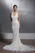Mermaid / Trumpet Halter Lace Chapel Lace Wedding Dress