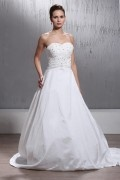 A Line Strapless Princess Chapel Train Applique Wedding Dress