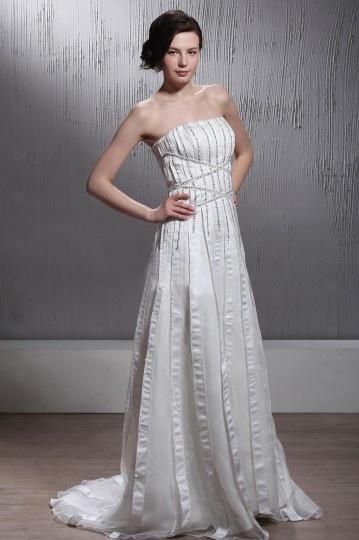A Line Sweetheart Sequins Church Wedding Dress
