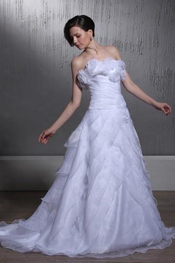 Vestido de noiva bustiê linha A sem manga Sem alça com flores no peito