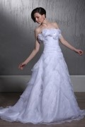 A Line Strapless Sleeveless Flowers & Tiered Wedding Dress