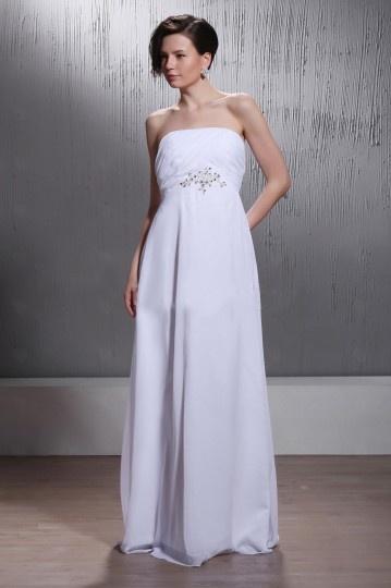 A Line Strapless Chapel Train Elastic Woven Chiffon Wedding Dress