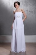 A Line Strapless Chapel Train Elastic Woven Chiffon Wedding Dress