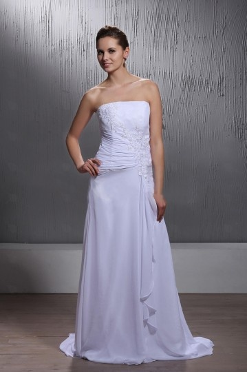 Chiffon Floor length Court Strapless Lace Wedding Dress