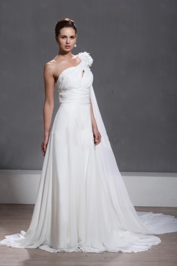 Empire One Shoulder Floor length Chapel Flowers Wedding Dress