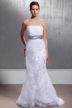 Sexy Strapless Sash Lace Up Trumpet Organza Appliques White Wedding Gown