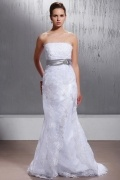 Empire Strapless Court Lace Wedding Dress