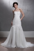 Sheath / Column Strapless Sweeping Wedding Gown