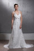 A line V neck Floor Length Vintage Wedding Dress
