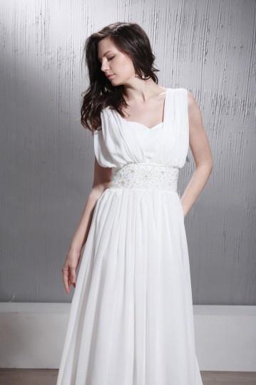 Vestido de noiva vintage Império decote em V drapeado sem manga Cauda Curto