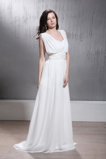 Empire V Neck Sleeveless Floor length Court Wedding Dress